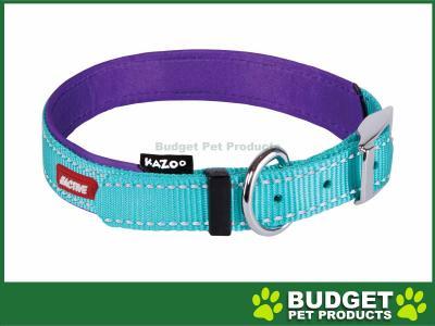 Kazoo Active Nylon Reflective Collar Aqua Purple Large 40-49cm x 20mm For Dogs