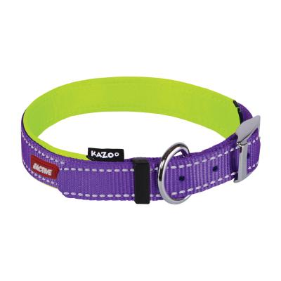 Kazoo Active Nylon Reflective Collar Purple Lime Medium 32-40cm x 15mm For Dogs