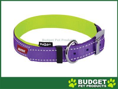 Kazoo Active Nylon Reflective Collar Purple Lime XLarge 48-59cm x 25mm For Dogs