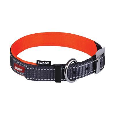 Kazoo Active Nylon Reflective Collar Slate Grey Orange Small 26-33cm x 12mm For Dogs