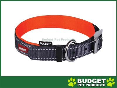 Kazoo Active Nylon Reflective Collar Slate Grey Orange XLarge 48-59cm x 25mm For Dogs
