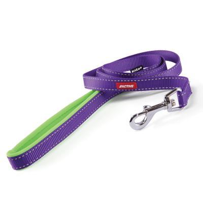 Kazoo Active Nylon Reflective Lead Purple Lime 1200 x 15mm For Dogs