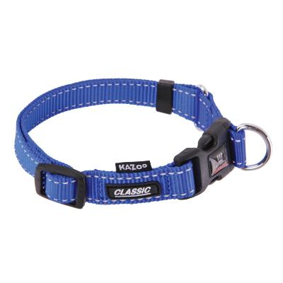 Kazoo Classic Adjustable Nylon Reflective Collar Blue XLarge 47-73cm x 25mm For Dogs