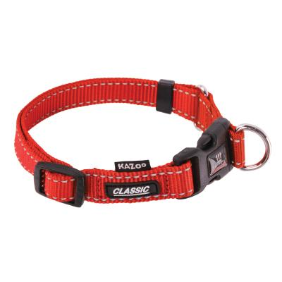 Kazoo Classic Adjustable Nylon Reflective Collar Red Medium 28-40cm x 15mm For Dogs