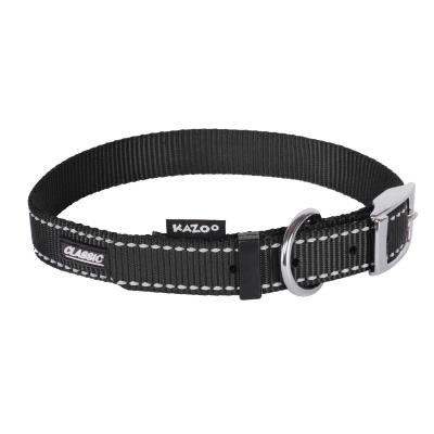 Kazoo Classic Nylon Reflective Collar Black Small 26-33cm x 12mm For Dogs