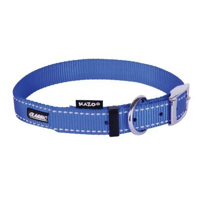 Kazoo Classic Nylon Reflective Collar Blue XLarge 48-59cm x 25mm For Dogs