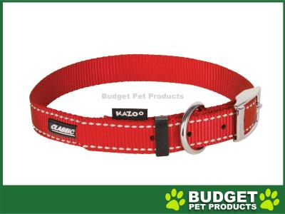 Kazoo Classic Nylon Reflective Collar Red XLarge 48-59cm x 25mm For Dogs