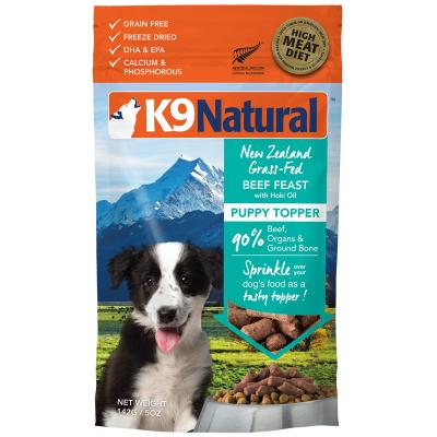 K9 Natural Grain Free Beef Feast With Hoki Oil Puppy Toppers Freeze Dried Meat Dog Food 142g