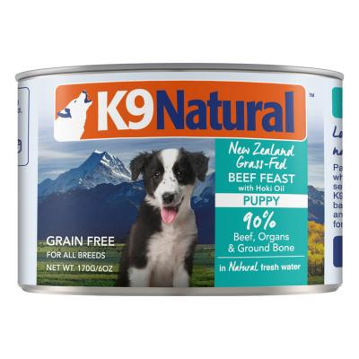 K9 Natural Grain Free Beef Feast With Hoki Oil Puppy Canned Wet Meat Dog Food 170gm x 24