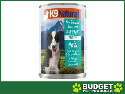 K9 Natural Grain Free Beef Feast With Hoki Oil Puppy Canned Wet Meat Dog Food 370gm x 12