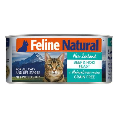 Feline Natural Grain Free Beef And Hoki Feast Canned Wet Meat Cat Food 85gm x 24