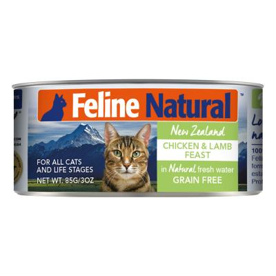 Feline Natural Grain Free Chicken And Lamb Feast Canned Wet Meat Cat Food 85gm x 24