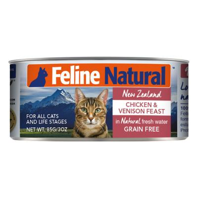Feline Natural Grain Free Chicken And Venison Feast Canned Wet Meat Cat Food 85gm x 24