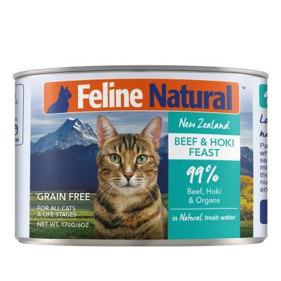 Feline Natural Grain Free Beef And Hoki Feast Canned Wet Meat Cat Food 170gm x 24