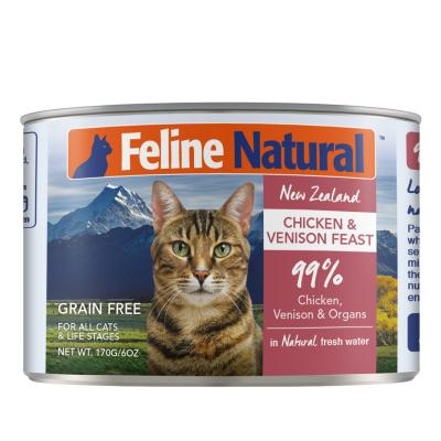 Feline Natural Grain Free Chicken And Venison Feast Canned Wet Meat Cat Food 170gm x 24