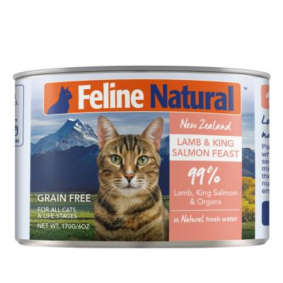 Feline Natural Grain Free Lamb And Salmon Feast Canned Wet Meat Cat Food 170gm x 24