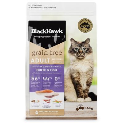 Black Hawk Grain Free Duck And Fish Adult Dry Cat Food 2.5kg