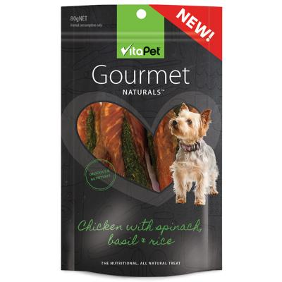 Vitapet Gourmet Chicken Spinach Basil Rice Treats For Dogs 80gm