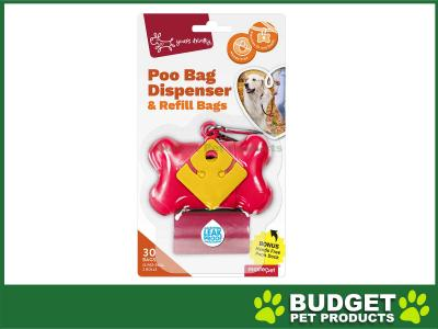 Yours Droolly Pet Waste Poo Bag Dispenser Bone Random Colour Selection With 30 Bags