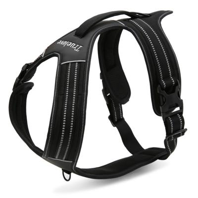True Love Dog Harness Nylon Reflective Padded Black Medium For Dogs