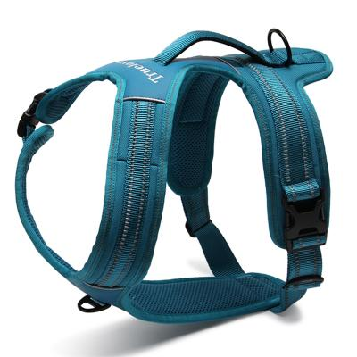 True Love Dog Harness Nylon Reflective Padded Blue Medium For Dogs