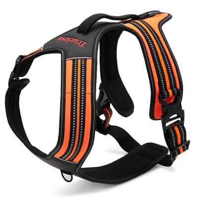 True Love Dog Harness Nylon Reflective Padded Orange Medium For Dogs