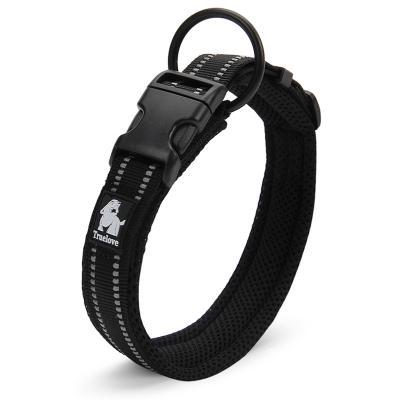 True Love Nylon Reflective Padded Collar Black XLarge For Dogs