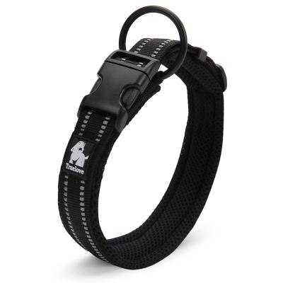 True Love Nylon Reflective Padded Collar Black XXSmall For Dogs