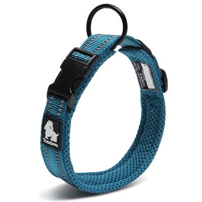 True Love Nylon Reflective Padded Collar Blue Medium For Dogs