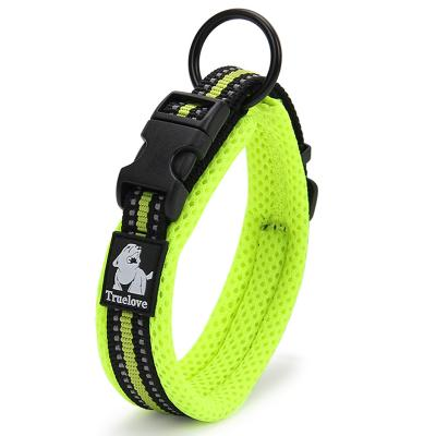 True Love Nylon Reflective Padded Collar Green Medium For Dogs