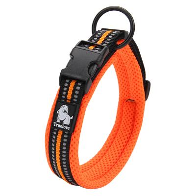True Love Nylon Reflective Padded Collar Orange Large For Dogs