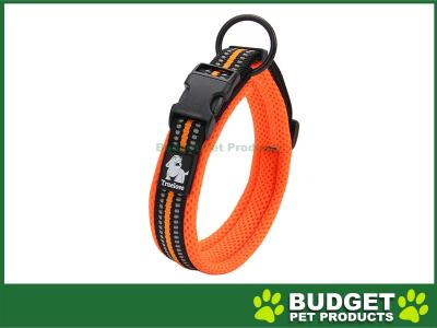 True Love Nylon Reflective Padded Collar Orange Medium For Dogs