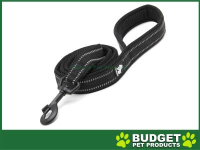 True Love Nylon Reflective Padded Lead Black Medium 1m For Dogs