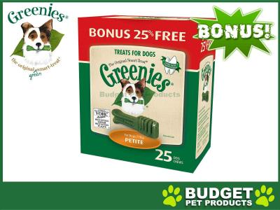 *** 25% Extra Free *** Greenies Dental Treats(Petite) For Small Dogs  7-11kg (25 Treats In Pack)