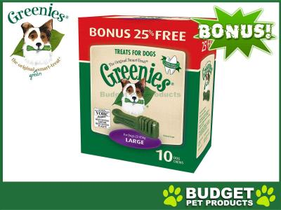 *** 25% Extra Free *** Greenies Dental Treats (Large) For Large Dogs 22-45kg Original (10 Treats In Pack)