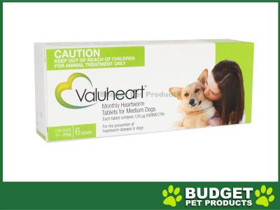 Valuheart For Medium Dogs 11-20kg 6 Tablets Green