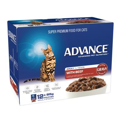 Advance Tender Beef Chunks In Gravy Adult 1+ Years Pouches Wet Cat Food 85gm x 12