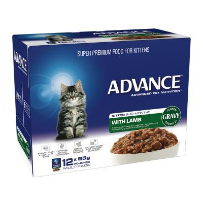 Advance Lamb With Gravy Kitten 2-12 Months Pouches Wet Cat Food 85gm x 12