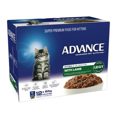 Advance Lamb With Gravy Kitten 2-12 Months Pouches Wet Cat Food 85gm x 12
