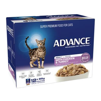 Advance Chicken Turkey In Jelly Adult 1+ Years Pouches Wet Cat Food 85gm x 12