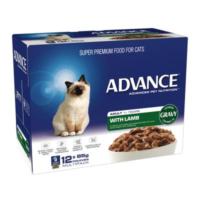 Advance Lamb With Gravy Adult 1+ Years Pouches Wet Cat Food 85gm x 12