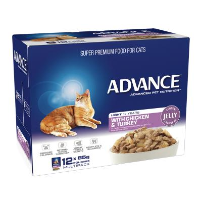 Advance Light Chicken Turkey In Jelly Adult 1+ Years Pouches Wet Cat Food 85gm x 12