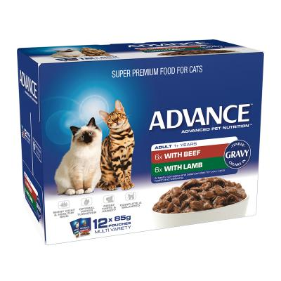 Advance Multipack Beef Lamb Chunks In Gravy Adult 1+ Years Pouches Wet Cat Food 85gm x 12