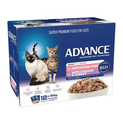 Advance Multipack Fish Chicken Turkey Chunks In Jelly Adult 1+ Years Pouches Wet Cat Food 85gm x 12