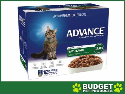 Advance Light Lamb With Gravy Adult 1+ Years Pouches Wet Cat Food 85gm x 12