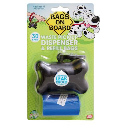 Bags On Board Pet Waste Poo Bag Bone Dispenser Black