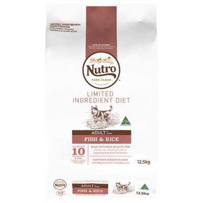 Nutro Limited Ingredient Diet Fish And Rice Adult Dry Dog Food 12.5kg