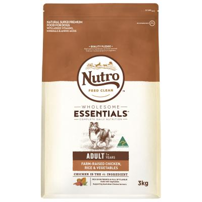 Nutro Wholesome Essentials Farm Raised Chicken Rice Vegetable Adult Dry Dog Food 3kg