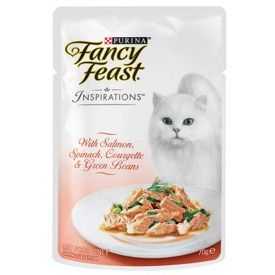 Fancy Feast Inspirations Salmon, Spinach, Courgette And Beans Pouches Wet Cat Food 70g x 12