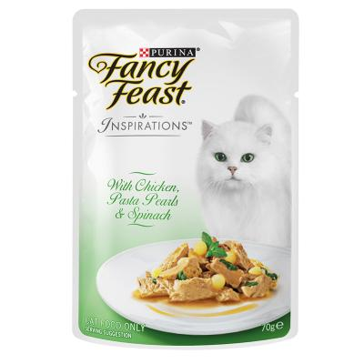 Fancy Feast Inspirations Chicken, Pasta Pearls And Spinach Pouches Wet Cat Food 70g x 12